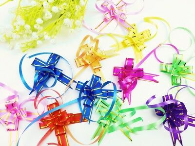 Small Pull Bows Gift Wrap Flower Ribbons Mixed 7 colours -UK seller