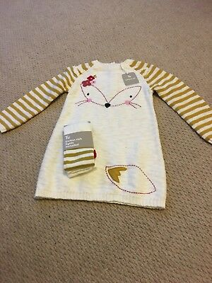 TU Girls Long Sleeve Knitted Dress And Matching Tights - Size 12-18 Months