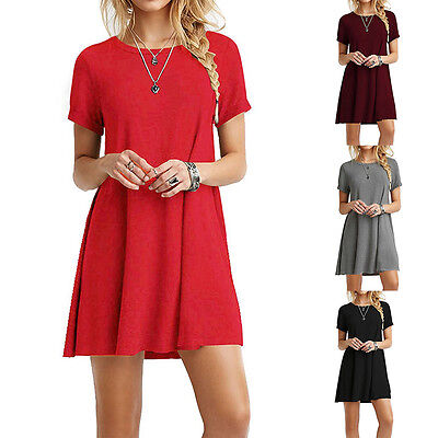 CO_ Women's Casual Summer Round Neck Plain Basic Flowy Mini T-Shirt Dress Charm