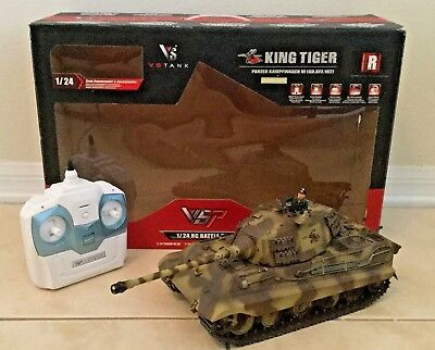 VSP RC Battle Tank King Tiger 2.4G HSHL Camo Tank, 1/24 Scale~Collector Owned~