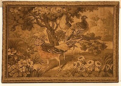 "Old Tapestry Wall Hanging On Frame Textiles 1920s 36""x 26"" VGC"