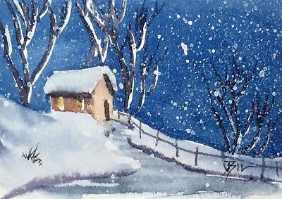 ACEO Original Art Watercolour Painting by Bill Lupton - Snow Again