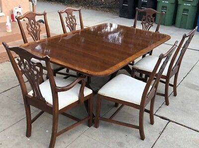 Hickory White Banded Mahogany Dining Table w/ 6 Chairs FREE DELIVERY SOCAL