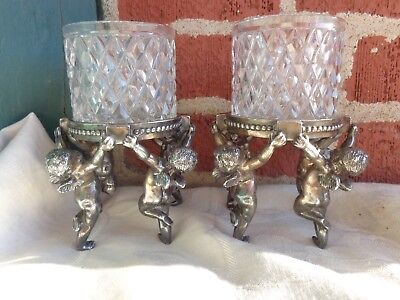 Antique Victorian Sgnd Pairpoint Cherub Candlesticks Candle Holder Crystal Set