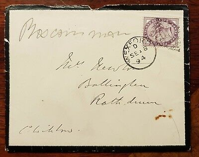 1894 1d Lilac on Cover to Ballinglen, Rathdrum, County Wicklow, Ireland