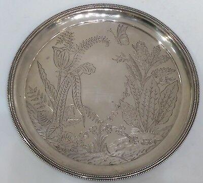 DECORATIVE ANTIQUE INDIAN SILVER PLATE/TRAY, P. ORR & SONS, MADRAS, c.1880.