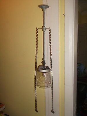 Victorian/Edwardian gas ceiling light ON/OFF - Glass Veritas shade