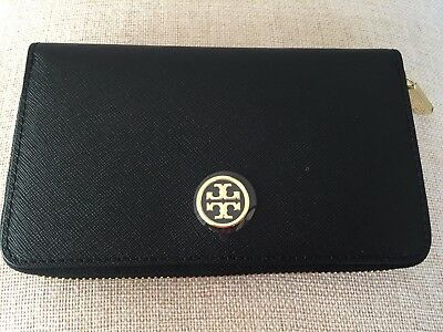 NWT Tory Burch Robinson Mini Continental Leather Wallet in BLACK $185