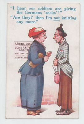 WW1 BAMFORTH COMIC postcard - SOCKS for THE SOLDIERS - posted 1915