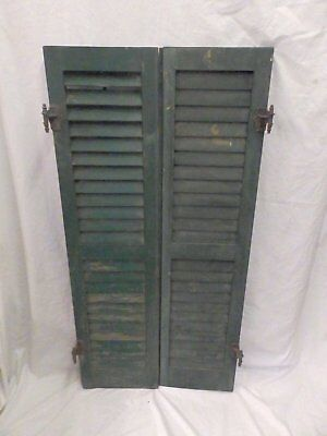Pair Antique Window Wood Louvered Shutters Shabby Old Chic Vintage 48X12 540-17P