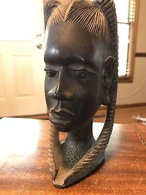 Authentic Hand Carved African Tribal Woman's Head from tribe in Africa