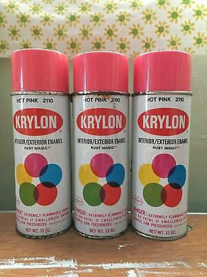 Vintage hot pink Krylon spray paint 3 full cans wow !!!!!