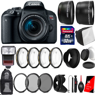 Canon EOS Rebel T7i DSLR Camera w/ 18-55mm Lens , TTL Flash and Accessory Bundle