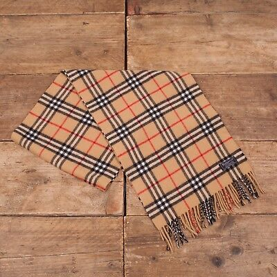 Vintage Mens Womens Authentic Burberry Nova Check Scarf 100% Cashmere R6783