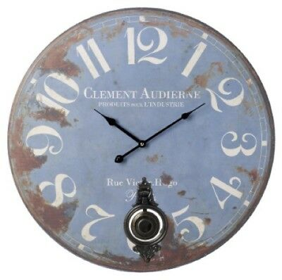 Large Vintage Shabby Chic Clement Pendulum Wall Clock - Duck Egg Blue