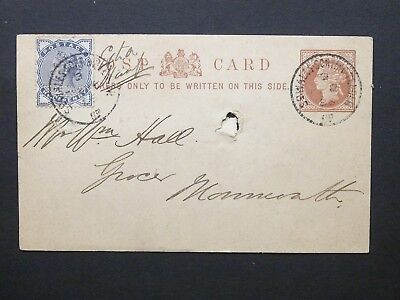 Railway Stationery 1886 QV 1/2d Postcard + 1/2d So WALES SORTING TENDER UP s/c's