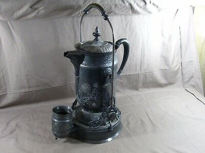 Antique Derby Silver Co. Quadruple Plate Flower Engraved Water Pitcher w/ Stand