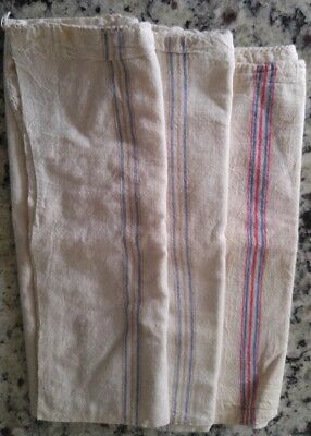 "3 Antique Blue & Red STRIPE French LINEN Fabric FEED SACK GRAIN BAGs 12"" x 18"""