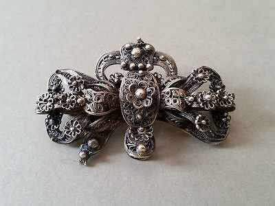 MAGNIFICENT ANTIQUE Ottoman brooch hand-knitted super thin SILVER filigree XIXc.