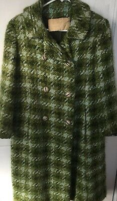 Vintage 1950's Boucle green Wool Coat small  leisure manor Tulsa