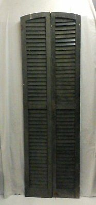 Pair Semi Arch Tall Top House Window Wood Louvered Shutters Shabby 79x12 545-17P