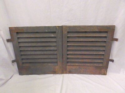 Pair Antique Small Window Wooden Louvered Shutters Shabby Vtg Chic 20x18 546-17P
