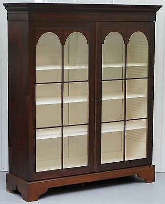 Lovely Late Georgian / Early Victorian Era Mahogany Bookcase With Original Glass