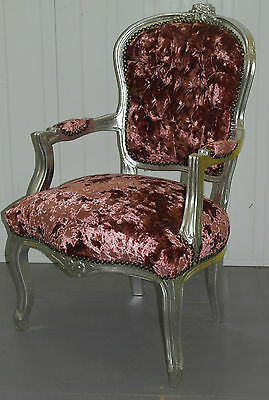 Lovely French Louis Occasional Armchair Silver Frame And Pink Velvet Upholstery