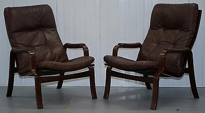 Pair Of Mid Century Modern Danish Rosewood Brown Leather Sling Armchairs
