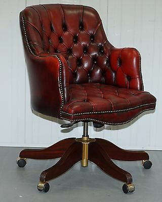 Rrp £3365 Bevan Funnell Bosens Oxblood Leather Chesterfield Captains Chair