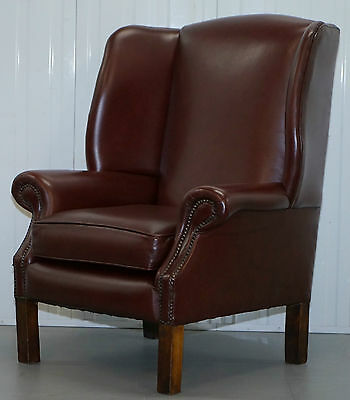 Lovely Aged Oxblood Brown / Red Height Straight Wing Back Chesterfield Armchair