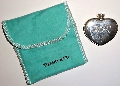 Vintage TIFFANY Sterling HEART PERFUME BOTTLE~PERSONAL PURSE FLASK w/POUCH~20G!