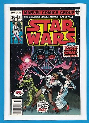 "Star Wars #4_October 1977_Very Fine+_""battle With Darth Vader...to The Death""!"
