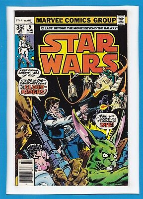 "Star Wars #9_March 1978_Nm Minus_Han Solo & Chewbacca_""the Cloud-Riders""!"