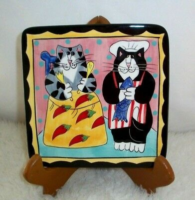 Catzilla Hot Plate Trivet Candace Reiter Hand Painted Feline Cat Lover Xmas Gift