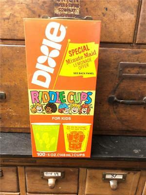 Vintage Old Stock Full unused Box Dixie Riddle Cups 100 5 oz  A.C.C. 1979 Fun