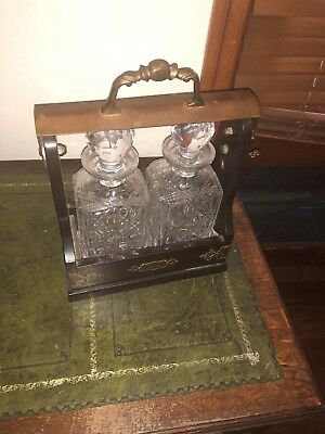 Antique Set Of Liquor Decanter Set with security carry stand and key