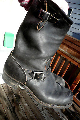 Vtg Mens Sears Engineer Motorcycle Black Leather Boots Size 13E