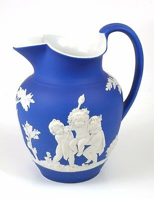 Antique Wedgwood Cobalt Blue Jasperware Pitcher 7 3/4""