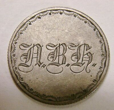 "1858 Seated Liberty Quarter Love Token Enscribed to ""A.B.H"""