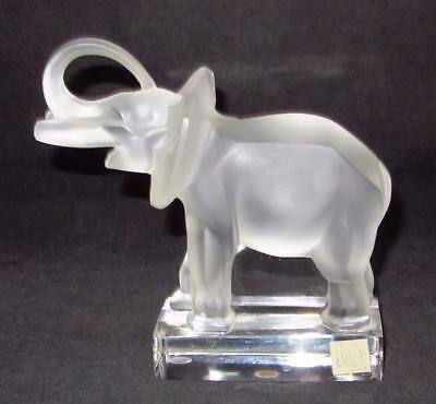 Lalique France Frosted Crystal Elephant Figurine or Paperweight on Clear Base
