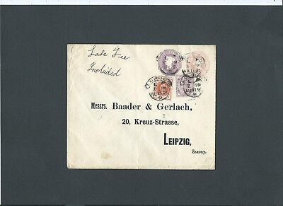 Late Fee Stationery STO QV Compound Cover LONDON L 9 Hooded Circles to Germany