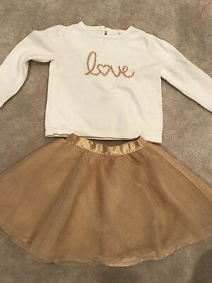 EUC Janie And Jack LOVE Sweater & Gold Shimmer Tulle Skirt 2T