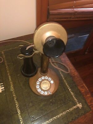 Antique Brass Candlestick Phone - rewired for modern use