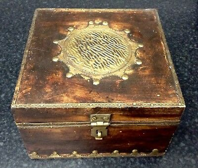 Antique / Vintage Wooden & Brass Inlaid Box - Arts & Crafts? - Hand Made NICE
