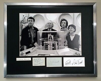 WILLIAM HARTNELL, JACQUELINE HILL +2 signed DOCTOR WHO autograph display