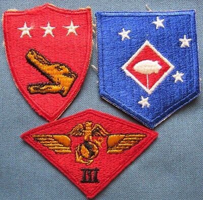 Lot of 3 WWII period US Marine Corps shoulder patches