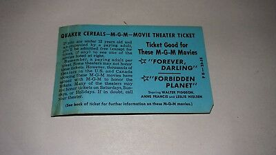 Rare 1959 Quaker Oats MGM Movie Theater Ticket  Forbidden Planet   Advertising !