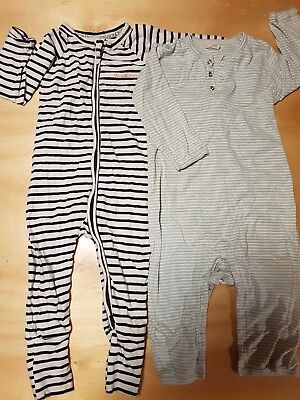 2x soft cotton sleepsuits, Bonds and organic cotton Nature Baby size 1