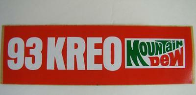 Vintage Bumper Sticker - 93 FM KREO Radio Station RARE Mountain Dew